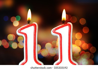Birthday candles celebrating of 11th anniversary