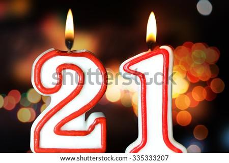 Birthday Candles Celebrating 21th