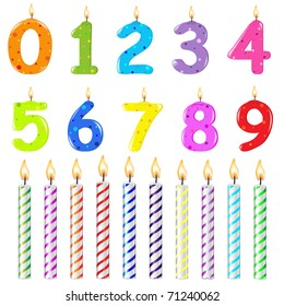Birthday Candles Of Different Form, Isolated On White Background
