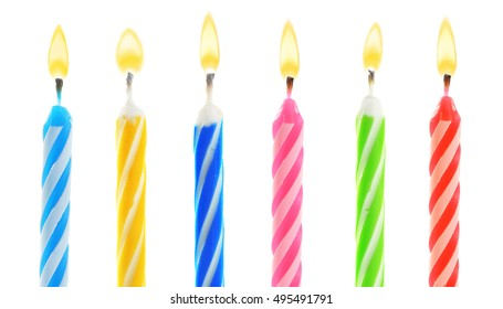 Birthday candles, isolated on white