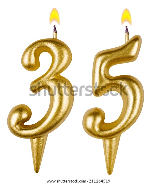 Birthday Candles Number Thirty Five Isolated Stock Photo