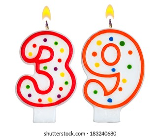 Birthday candles number thirty nine isolated on white background