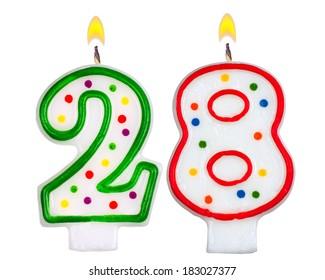 Birthday candles number twenty eight isolated on white background