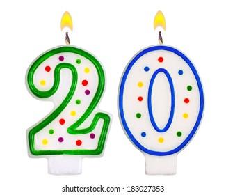 Birthday candles number twenty isolated on white background
