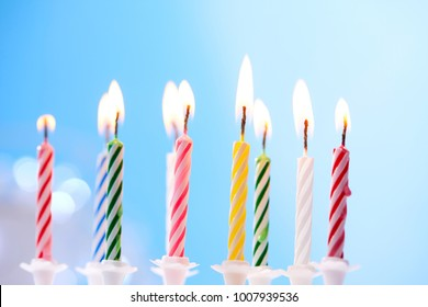 birthday candles on blue background