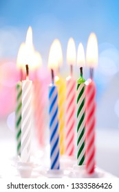 birthday candles on the blue background
