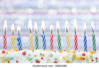 Birthday candles on soft background
