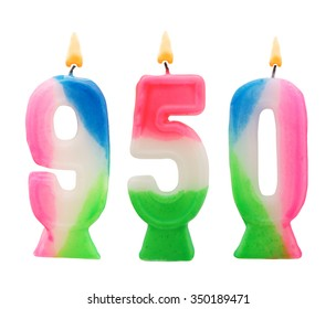Birthday candles on white background, number 950