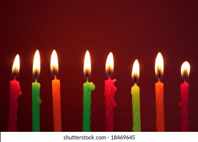 birthday candles with red background
