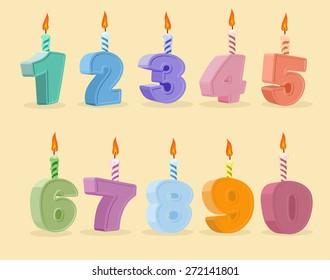 birthday candles set. Cartoon numbers