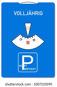 Birthday card for 18th birthday with the German word for of age (Volljaehrig)