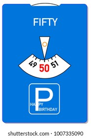 Birthday card for 50th birthday with the word fifty