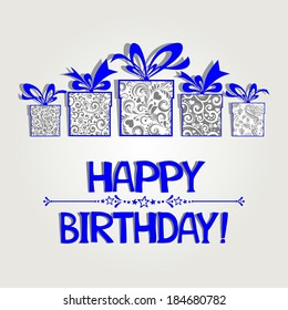 Birthday card. Celebration background with gift boxes and place for your text. illustration