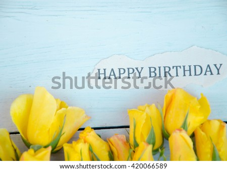 Birthday Card Yellow Roses Stock Photo Edit Now 420066589