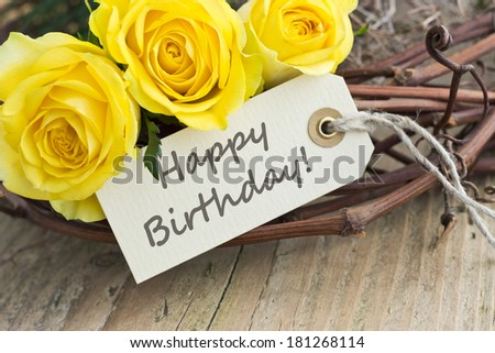 Birthday Card Yellow Roseshappy Birthdayenglish Stock Photo Edit