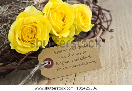 Birthday Card Yellow Roses May All Your Stock Photo Edit Now