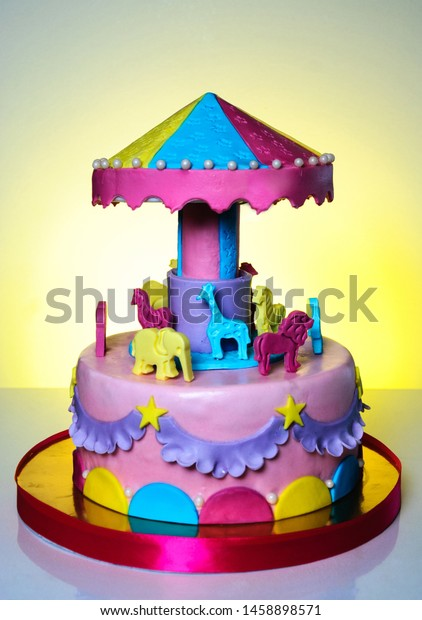 Magnificent Birthday Carousel Cake Child Stock Photo Edit Now 1458898571 Personalised Birthday Cards Akebfashionlily Jamesorg