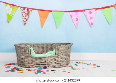 Birthday for the cat or the dog with flag chain and basket
