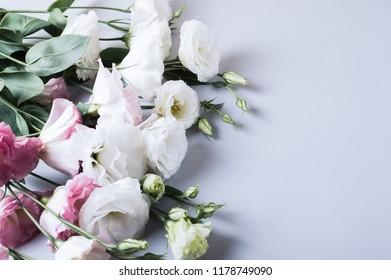 Birthday celebration. Flower background with Lisianthus, eustoma