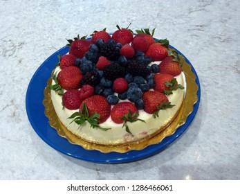 Birthday cheesecake on the dish