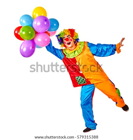 Birthday Child Clown With Balloons Bunch On Isolated Events Organizer Man Is Standing One