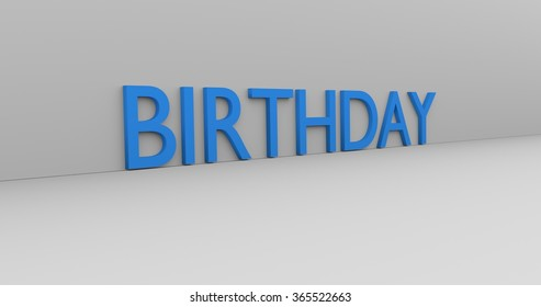 Birthday concept word - blue text on white background.
