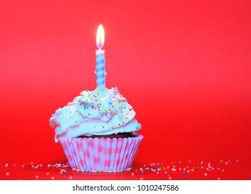 Birthday cup cake with whipped cream, decorated with colorful sugar balls with birthday candle on red background. Happy birthday