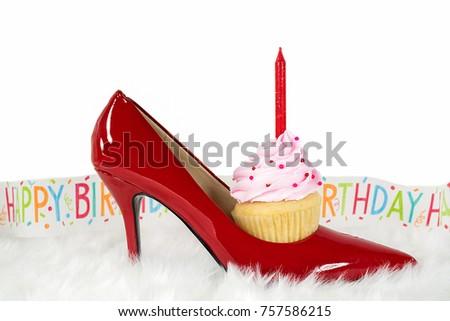 Birthday Cupcake Candle Red High Heel Stockfoto (Jetzt bearbeiten ...