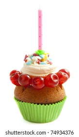 Birthday cupcake isolated on a white background