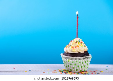Birthday cupcake on a color background with multicolor candles.