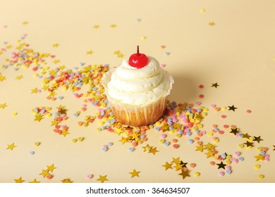 Birthday cupcake on the table