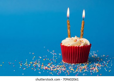 Birthday Cupcake With Sprinkles And Gold Candles