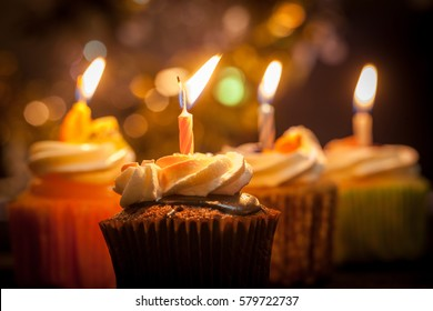 Birthday cupcakes in  colorful colors