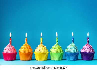 Birthday cupcakes in rainbow colors