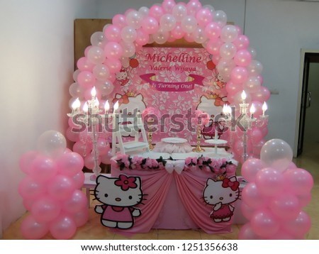 Birthday Decorations Hello Kitty Cartoon Themes Stock Photo Edit