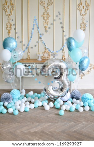 Birthday Decorations Ideas A Lot Of Balloons Blue And White Colors