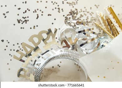 Birthday decorations and objects with copy space.