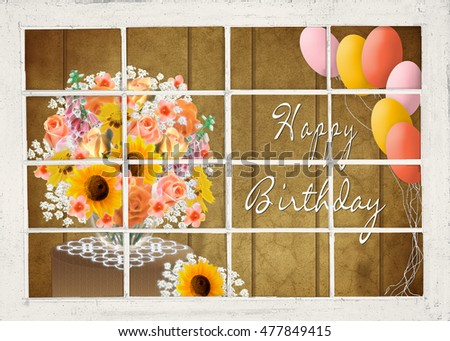 Birthday Flower And Balloons Note Flowers Have FRACTALs Affects For Interest Fall Season Background