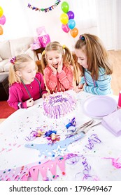 Birthday: Friend Blows Out Girl's Candles