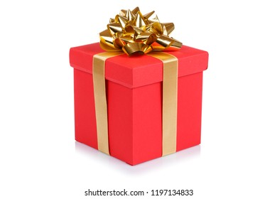 Birthday gift christmas present red box isolated on a white background