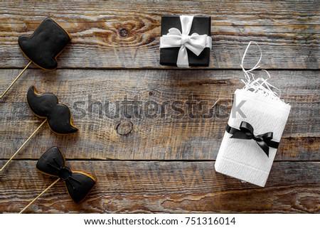 Birthday Gift Men Wrapped Box Cookies Stock Photo Edit Now