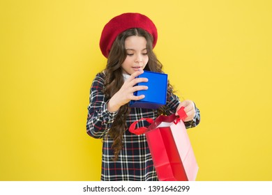 Birthday girl. Favorite brands hottest trends. Girl with shopping bag. Explore fashion industry. Shopping and purchase. Black friday. Sale discount. Shopping day. Little french lady adore shopping.