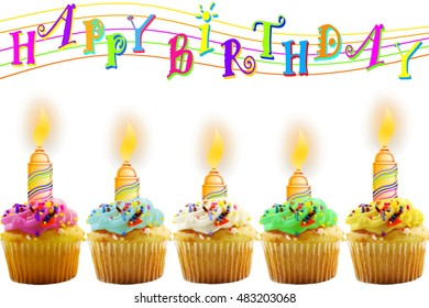 Birthday greeting card with cupcake and candle