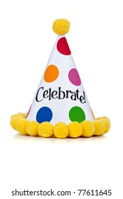 "Birthday hat with ""Celebrate"" on a white background"