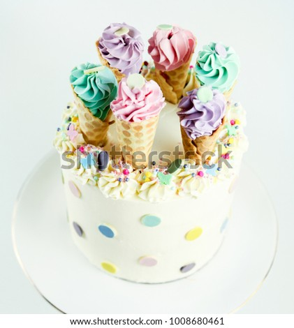 Birthday Ice Cream Cone Cake On A White Background