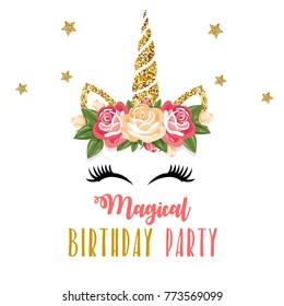 Birthday invitation with unicorn and pink glitter