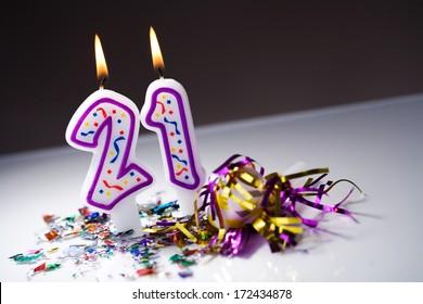 Birthday: Lit 21st Birthday Candles