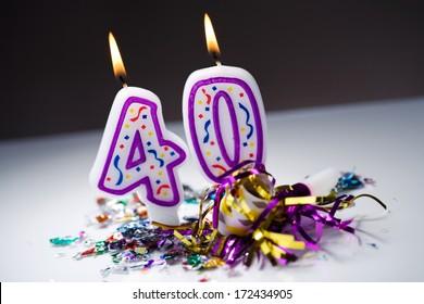 Birthday: Lit 40th Birthday Candles
