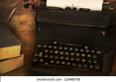 birthday message written on vintage typewriter