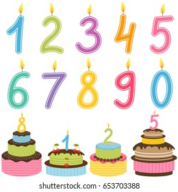 Birthday Numbers Candle with birthday cakes. Raster version